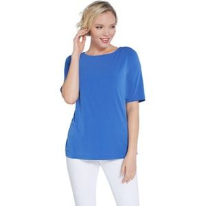 3/$25 Susan Graver Size 2X Blue Short Sleeve Top